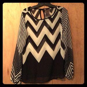 Black and white chevron stripe blouse